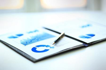 crecimiento: Un primer plano de un cuadro financiero de negocios con gr�ficos de barras y circulares. Una pluma es en la parte superior. Se puede utilizar para representar a los gastos del negocio, el crecimiento o ingresos.