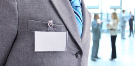 name tags: White Blank Badge on mens torso