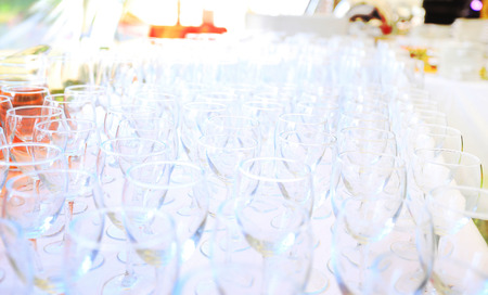 garden party: Empty wine glasses in the garden party
