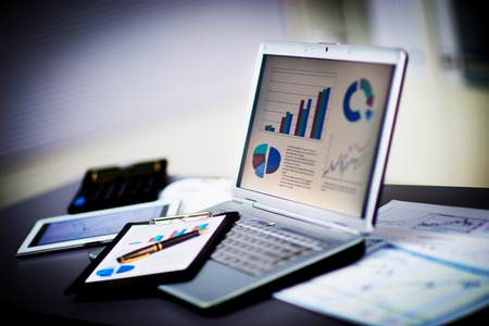 Businessman analyzing investment charts with laptop. Accounting Standard-Bild