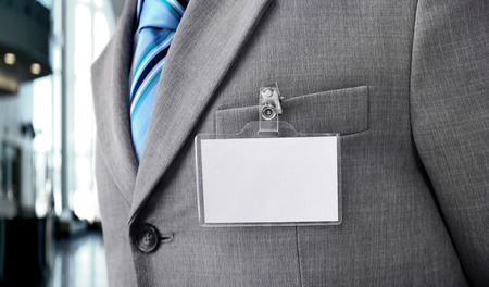 financial official: White Blank Badge on mens torso