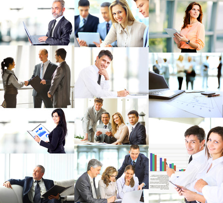Business people in various situations connected with trainings, presentations, negotiations and teamwork Banque d'images
