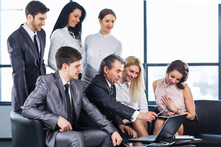 communicates: successful business team communicates by webcam Stock Photo