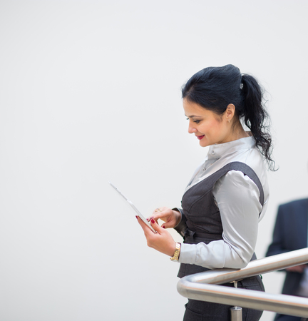woman handle success: Young pretty business woman Stock Photo