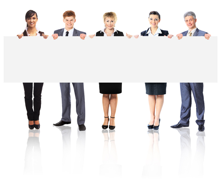large group of business people: Large group of young smiling business people. Over white background
