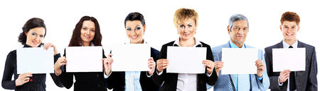 frendship: group of young smiling business people. Over white background