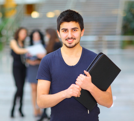 hispanic students: Group of merry students. Stock Photo