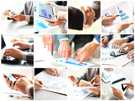collage: Business theme photo collage composed of different images Stock Photo