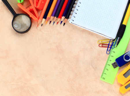 teaching crayons: Office and student accessories on a white. Back to school concept.