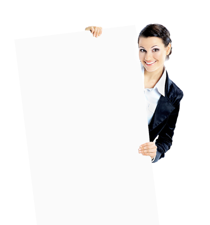 Beautiful business woman with a white banner. Stock Photo
