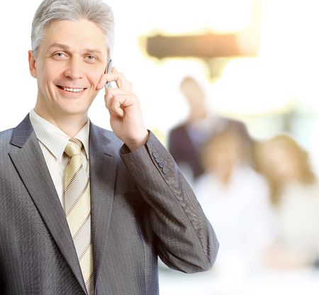 Adult businesswoman talking on the phone makes a deal, team work in the background mode Stock Photo