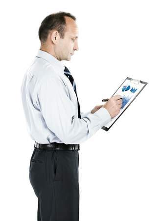 Accounting. investor with the financial plan of revenues of the Stock Photo