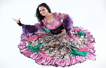 portrait of a Gypsy dancer in national costume 스톡 콘텐츠