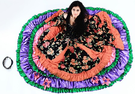 beautiful Gypsy dancer performs the national dance