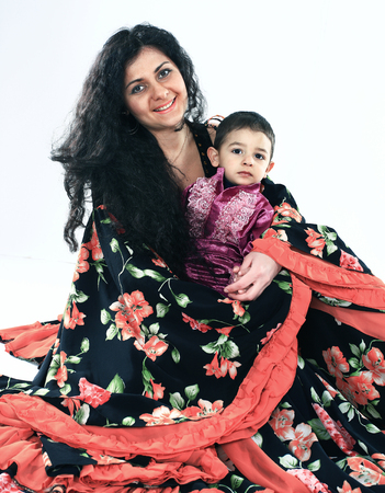 Gypsy family: happy mother and son in national costumes Stockfoto