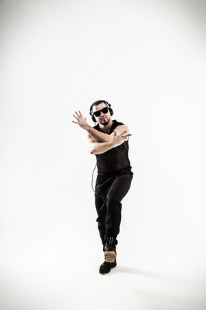 best rapper dancing break dance .photo on a white background. Stock Photo