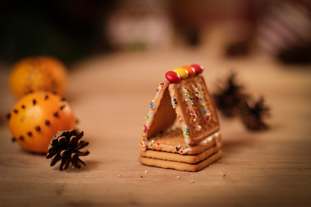 Christmas kitchen. background image cookies and oranges on the