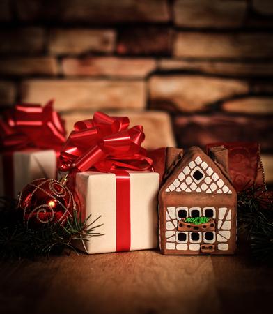 gingerbread house,Christmas balls and Christmas gifts