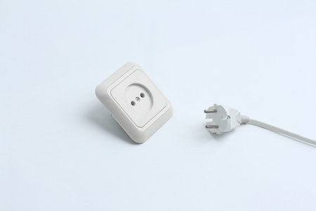 electrical outlet and plug.isolated on a white background Stock Photo
