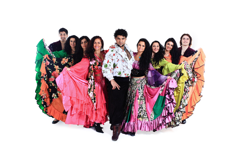 group portrait of a Gypsy dance group in national costumes
