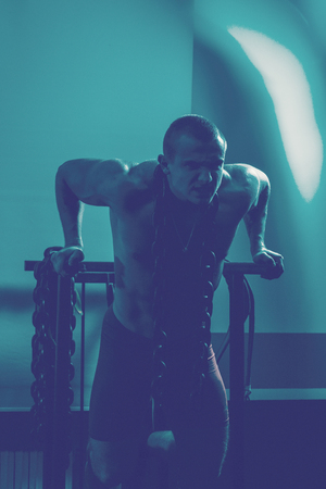 bodybuilder in the gym performs exercises for bodybuilding.