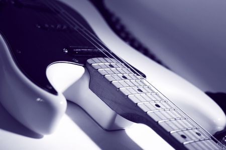 closeup.black guitar on a white background. Stock Photo