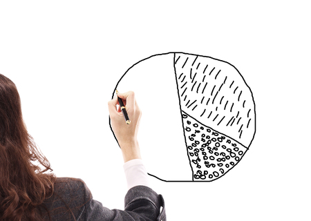 close up.business woman drawing a marketing diagram on a flip chart