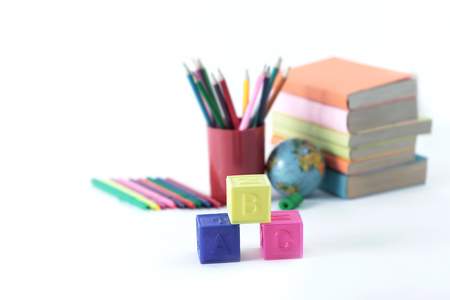 blurred image of school supplies .photo with copy space Stock Photo