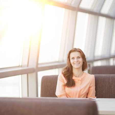 woman consultant in the workplace in the Bank office