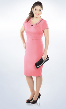 In Full Growthautiful Woman In Pink Summer Dressolated Stock