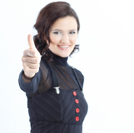 closeup.modern business woman showing thumb up Imagens
