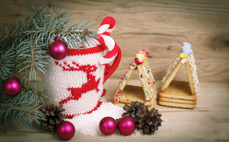 beautiful Christmas Cup on a wooden table Stock Photo