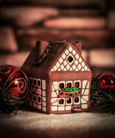 gingerbread house,Christmas balls. the concept of the celebrati
