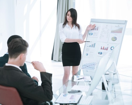 business woman making a report to the business presentation