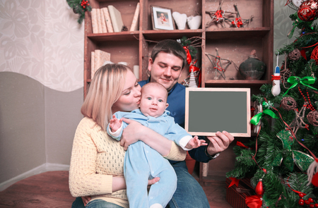 portrait of happy family in Christmas eve Banque d'images