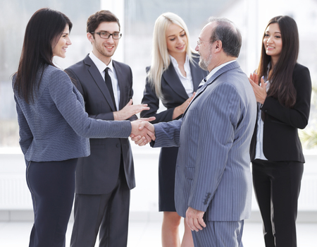Business handshake and business people concept. Two men shaking hands. Stock Photo