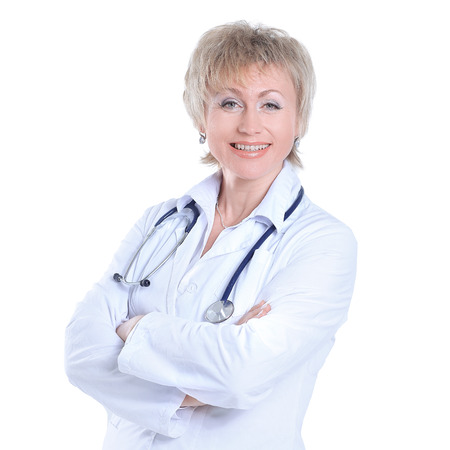 portrait of woman practicing physician.isolated on white Фото со стока