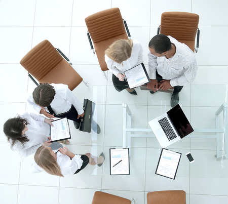 top view.the business team before the meeting Stock Photo