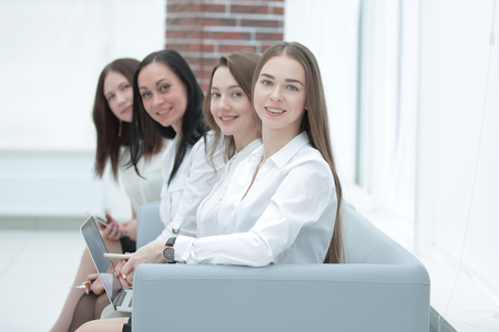 successful business team sitting in office hall.photo with copy space