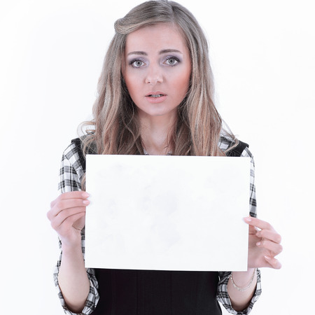 young business woman showing a sheet that says HELP