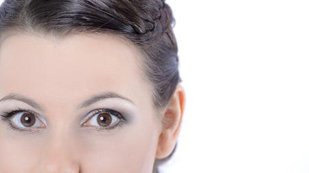 closeup .face of beautiful young woman with daily makeup.