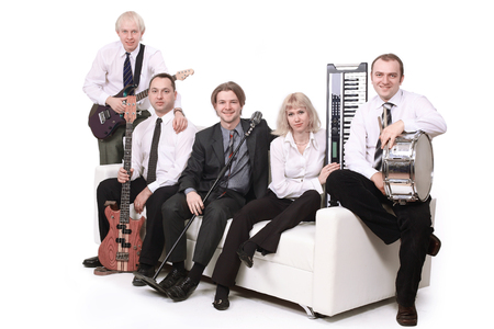 stylish band with instruments.isolated on a white background.