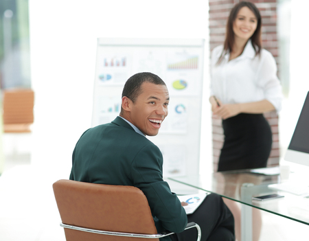 successful head of business project at a working meeting