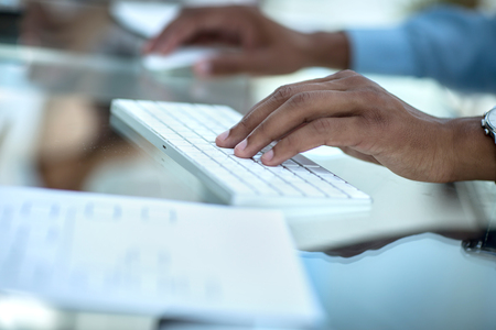 closeup.businessman typing on computer keyboard.photo with copy space.