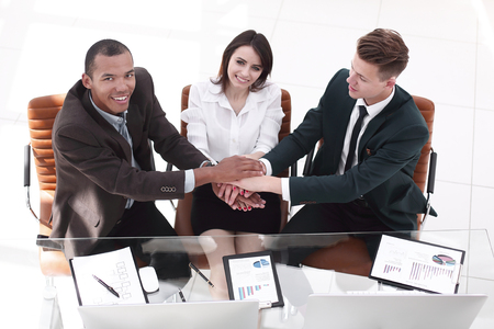 concept of cooperation.the final handshake of business partners