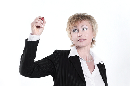 modern business woman pointing at a virtual point.