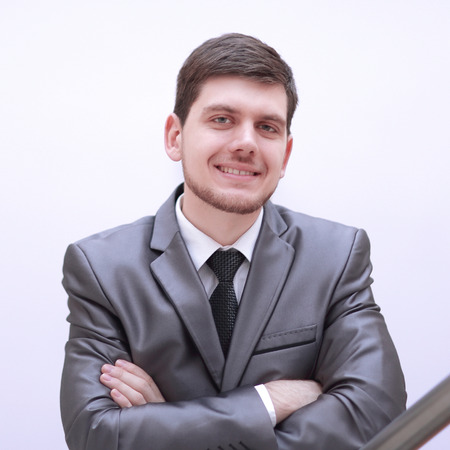 portrait of handsome businessman on white background