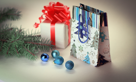 Christmas gifts and shopping bag.isolated on white background