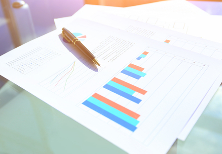 financial and business color charts and graphs of the table Stockfoto