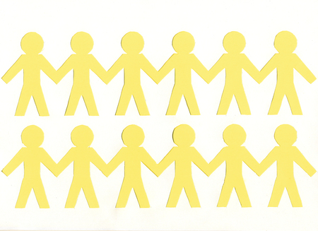 men of yellow paper, on white background